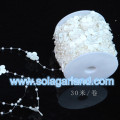 30M/Roll Wedding Party Decor ruban fleur guirlande perles perle W/plastique blanc