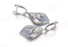 18K White Gold Earring with Aqua Blue  Chalcedony