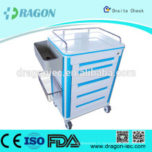 DW-CT219 emergency drug trolley medical trolley hospital cart stainless steel trolley cart for hot sale