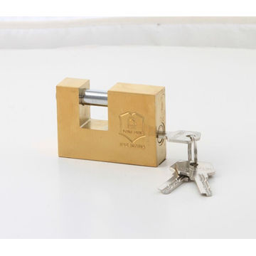 Gold Plated Rectangular Iron Padlock