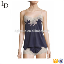 Camisole with lace sexy lady pajamas with shirts fashion sleep wear