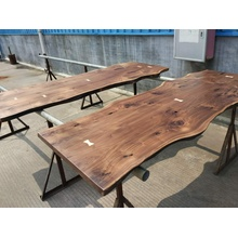 American Walnut Table Top with Live Edge for Kitchen Counter