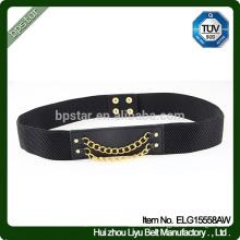 Lady Elegant Elastic Belt Moda Mulheres Black Elastic Waistband