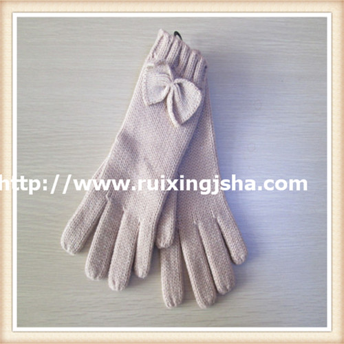 lady pure color bowknot knitted gloves