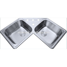 Fashion design corner kitchen sinks stainless steel