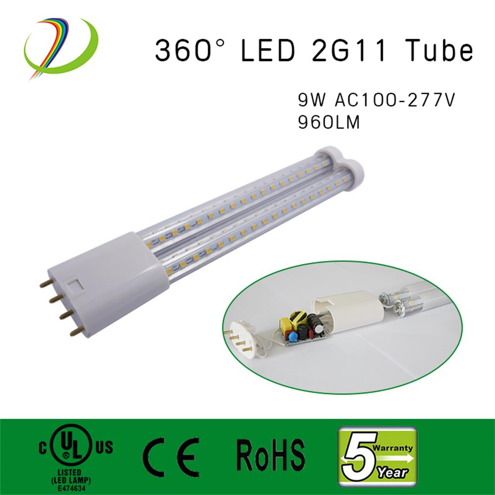 9W 360 graus 2G11 Led Tube Light