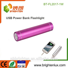 Preiswerteste Großhandelsaluminiummetall 1 * 18650 Batterie Fördernde USB-aufladenleistungsbank-Taschenlampe führte Minifackel