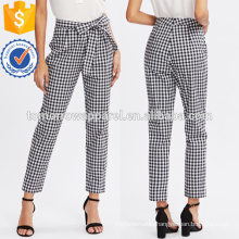 Checkered Bow Tie Waist Smoking Pants Manufacture Wholesale Fashion Women Apparel (TA3076P)