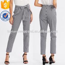 Calças De Fivela De Cintura De Gravata Borboleta xadrez Fabricação Atacado Moda Feminina Vestuário (TA3076P)
