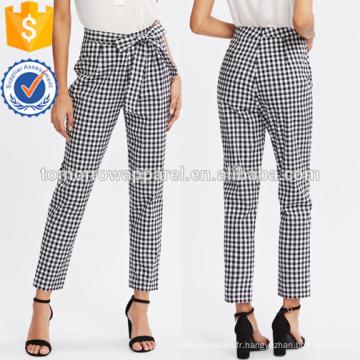 Cravate à carreaux taille papillon taille pantalons de fabrication en gros de vêtements pour femmes (TA3076P)