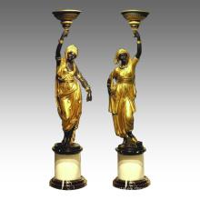 Estatua de candelero árabe Lady Candlestick Bronce Escultura TPE-120 y 121 / 120L y 121L