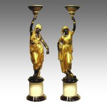Bougeoir Statue arabe Lady Candlestick Bronze Sculpture TPE-120 & 121 / 120L et 121L