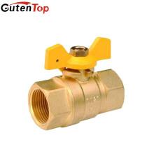 """LinBo Guten superior MOP de gas 5-20 latón recto Válvula de bola, FF, mango de aluminio """"T"""" de yuhuan"""