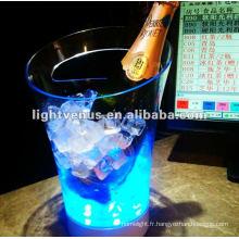 2012 nouveau design clignotant en plastique LED seau à champagne
