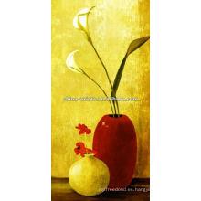 Todavía bote de la vida con la pintura de la lona de la flor
