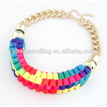 2016 Summer colorful handmade woven statement gold choker necklace