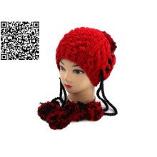 Sombrero de invierno de la gorrita tejida a mano del sombrero de la gorrita tejida de Pompom del Knit de la mano