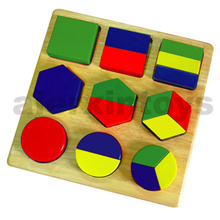 Wooden Shape Blocks Made of Rubber Wood