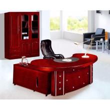 Único escritorio de oficina circular, moderno escritorio de oficina de borde redondo