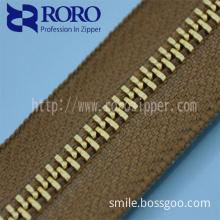 no.5 light gold Y teeth long chain metal zipper