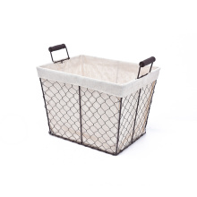 KINDOME Amazon Hot Sales Wire Storage Basket with Fabric Liner and Handles