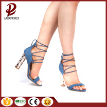 totem high heel Blue fashionable ladies sandals