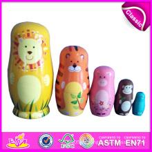 2014 bunte hölzerne Russland Nest Dolls für Kinder, süße Russland Nest Puppe für Kinder, Russland Matryoshka Nest Puppe für Baby Factory W06D039
