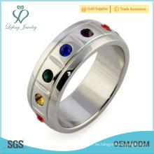 Anillos de la joyería del diamante del orgullo lesbiano del acero inoxidable, joyería orgánica bisexual