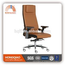 Cadeira do escritório do braço do plutônio do aço inoxidável do elevador do giro do couro / do plutônio da parte traseira elevada de CM-B198AS-2