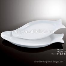 2016 Hotel&restaurant fish white porcelain plates, crockery unique plates, Catering ceramic dinnerware plates