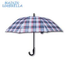 Business Check Conception PG Tissu Chine Usine Bâton de Marche Courbe Poignée Automatique Métro Oversize Grand Hommes Parapluie
