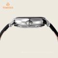 Relógio mecânico esqueleto relógio automático com pulseira de couro genuíno 72342