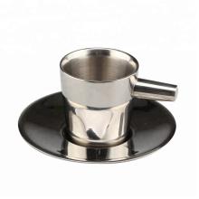 Tasse à expresso / thé en acier inoxydable à double paroi avec soucoupe