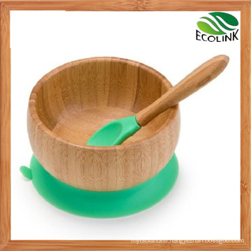 Bamboo Feeding Bowl for Baby or Children with Bamboo Spoon