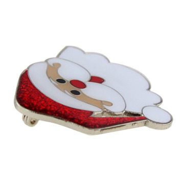 Collection Metal Christmas Santa Brooch With Glitter