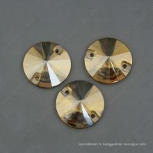 Golden Shadow Round Cousez sur des perles de pierres
