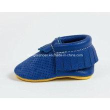 Cuero de borlas zapatos de bebé 01