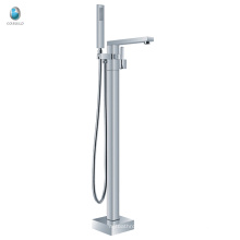 KFT-07 chrome surface treatment free standing bathtub faucet, floor free standing handheld shower bathtub faucet