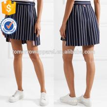 Marinha plissada e branco algodão listrado verão mini saia fabricação atacado moda feminina vestuário (tsa155s)