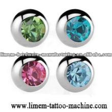 bolas de jóias de piercing no corpo com pedra