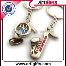 Keychains de couple d'instrument de musique en métal en gros