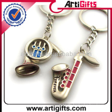 Metal musical instrument couple keychains wholesale