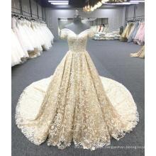 Alibaba alta qualidade ouro vestido de casamento de luxo vestido de noiva 2018