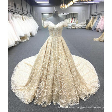 Alibaba high quality gold luxury wedding dress bridal gown 2018