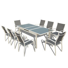 9pcs alu. Textilene extension dining set