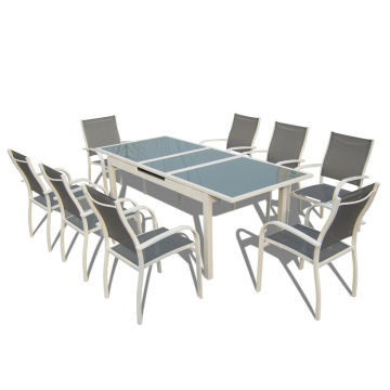Online Exporter for Best Patio Furniture Sets,Outdoor Patio Furniture,Garden Table And Chairs Manufacturer in China 9pcs alu. Textilene extension dining set supply to Myanmar Wholesale