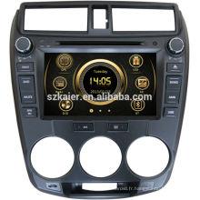 Lecteur DVD de voiture 8 pouces pour 2012 Honda City avec GPS, TV, Bluetooth, 3G, ipod, PIP, jeux, double zone, commande au volant