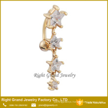 18K Gold Clear Sexy Star Fake Belly Button Ring 18K Gold Clear Sexy Star Fake Belly Button Ring