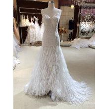 Meerjungfrau-Feder-Art- und Weisehochzeits-Kleid
