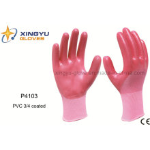 Polyester Shell PVC 3/4 Coated Safety Work Glove (P4103)